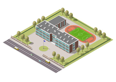 Vector isometric infographic element or university building. Flat illustration on white background Illustration