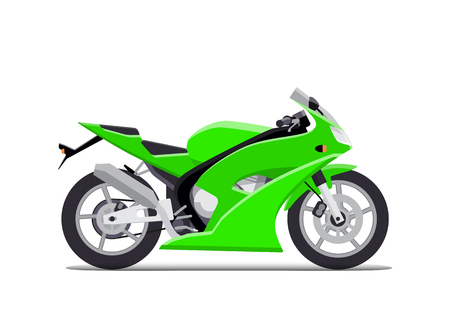 racing sign: Green sports motorbike. Flat Vector Isolated on white background Illustration
