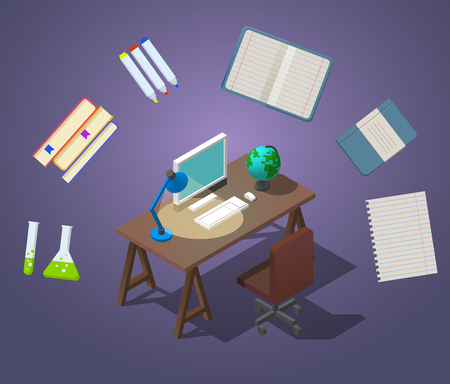 Welcome to school concept isometric vector illustration. A table with a chair, a computer with a globe on the table and a table lamp are shining.