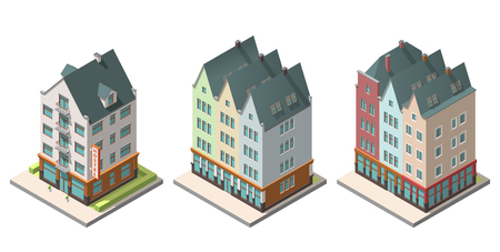 Vector isometric buildings hotel, residential building set isolated on white background