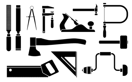 Carpentry Icons woodwork tool set. Vector illustration isolated on white background 向量圖像