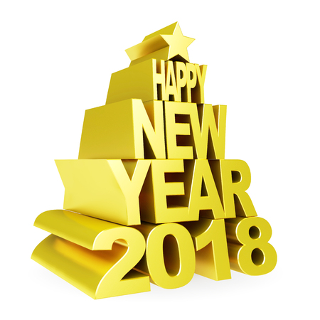 Happy New Year 2018. Golden 3D numbers and text on a white background.