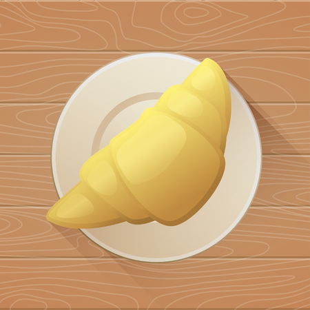 Tasty buttery croissant on plate and old wooden table. Vector flat illustration 向量圖像