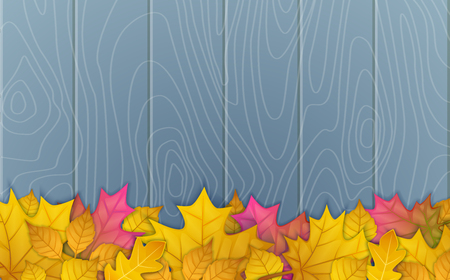 Illustration of autumn leaves on wooden blue background. top view 向量圖像