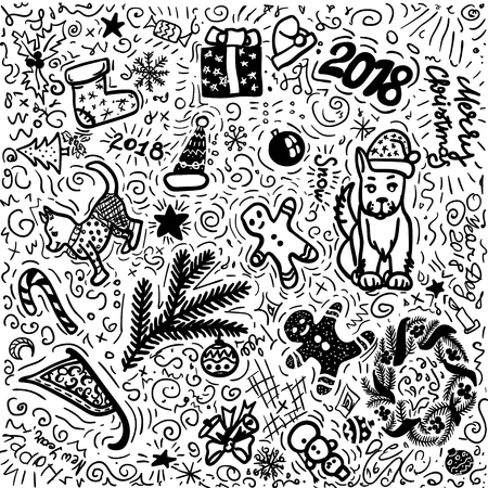 Simple Christmas black and white hand drawing. Background doodle vector illustration set of made in unique style. Holiday, celebrate, tree, ginger bread men, man, dogs. 向量圖像