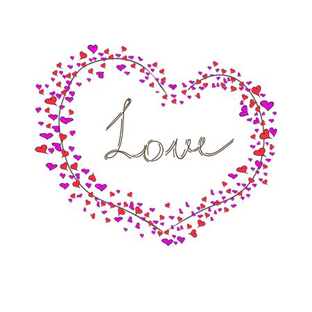 Greeting card with big heart and word love lettering illustration.