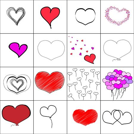 Set of simple cartoon illustration of heart.