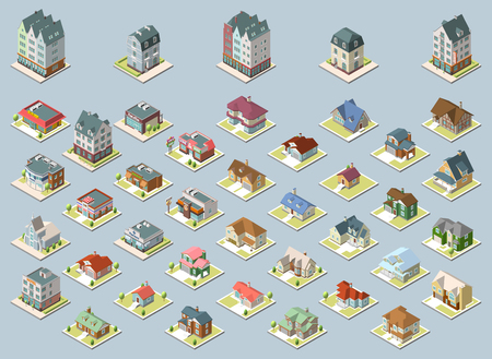 Vector isometric buildings set. Isolated on blue background.