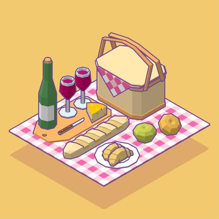Isometric low poly picnic food set. Vector illustration. Illustration