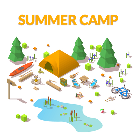 Vector isometric 3d low poly elements in the camping site 向量圖像