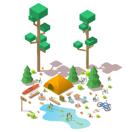 Vector isometric 3d low poly elements in the camping site Vettoriali