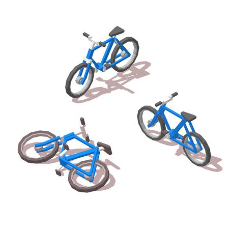 Isometric blue Bicycle. 向量圖像