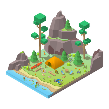 Vector isometric 3d low poly elements in the camping site Illusztráció