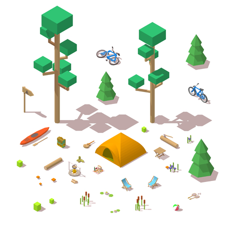 Vector elements in the camping site