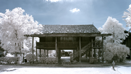 Thai house in the park with imaging near infrared. Stock Photo
