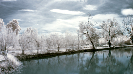 Parks and ponds, taken with near infrared Stock Photo