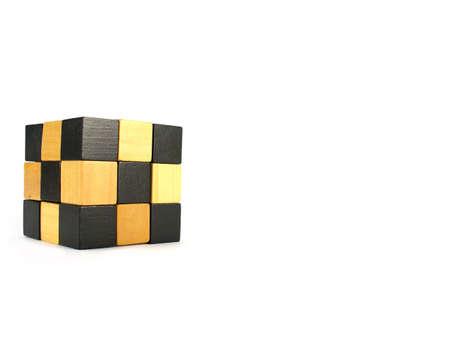logica gioco cubetti isolati su bianco Archivio Fotografico