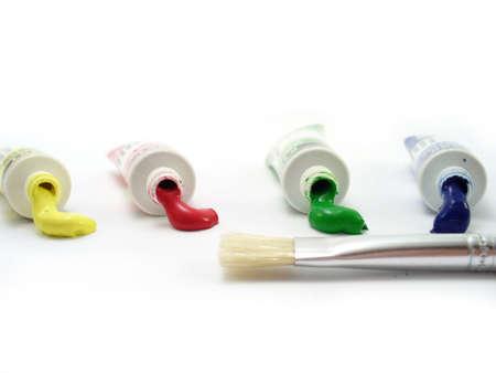 tempera: Tempera tubes with brush