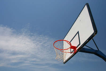 Basketball hoop, street basketball under clear blue sky