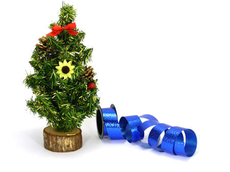 fake christmas tree: fake christmas tree and blue decoration ribbon