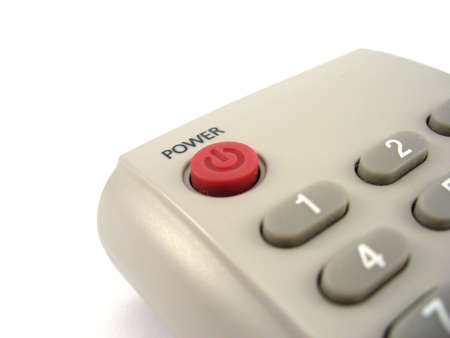 tv remote: tv remote controle with power button close up Stock Photo