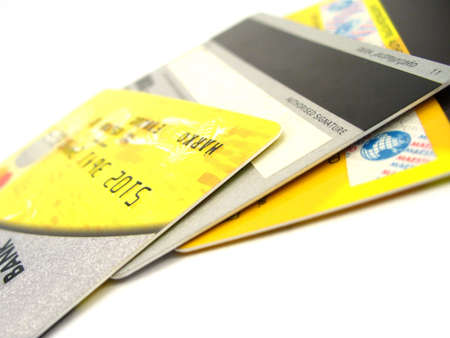 spread credit cards isolated on white Stock Photo