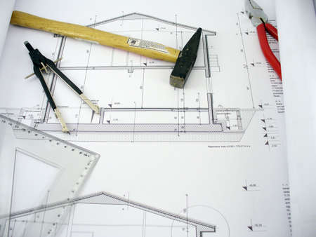 autocad: house plans with tools,hammer,clamps and compass