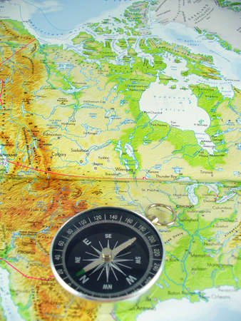 compass on map of USA