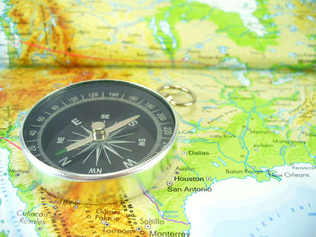 Compass on map of USA Stock Photo