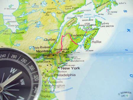 Bussola sulla mappa di Stati Uniti d'America