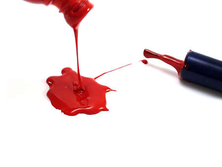 spilled red nail polish
