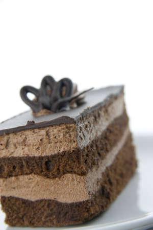 Torta al cioccolato marrone closeup su un piatto bianco