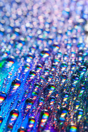 rainbow: Water drops on multicolor background