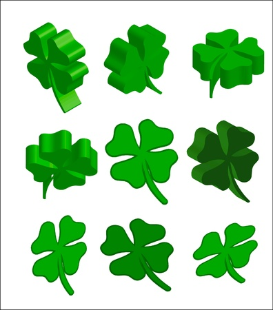 pack of st patrick background green cloverleaf Stock Photo - 17297606