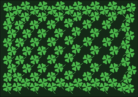 st.patrick background green cloverleaf  Vector