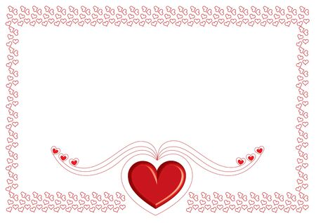 valentine card with small red heart on white