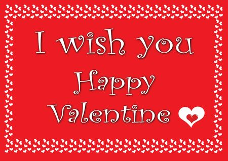 valentine card with small white heart on red with text Stock Photo