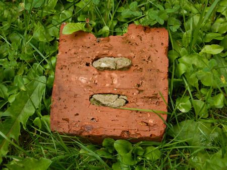 Old brick on the grass Stock Photo