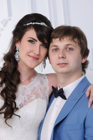 jewess: Close up of beautiful woman and man. Wedding dress. Wedding accessories