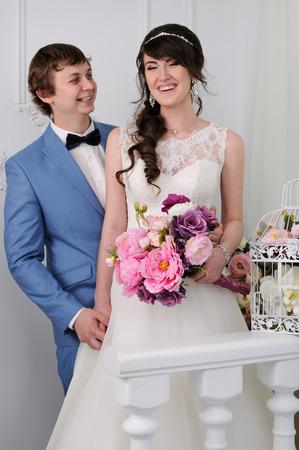jewess: Portrait of beautiful woman and man. Wedding dress. Wedding accessories
