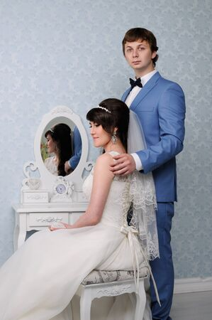 jewess: Portrait of beautiful couple woman and man. Wedding dress. Wedding accessories