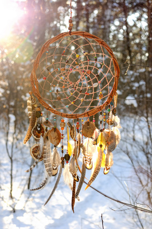 dream catcher: Handmade colorfull dream catcher in the snowy forest. Tribal elements, owl feathers