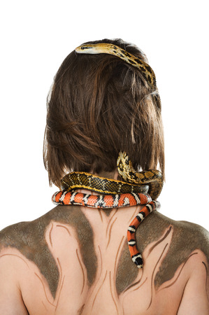 bodyart: Girl with bodyart make-up and with snakes in the image of Gorgon medusa. Isolated on white background