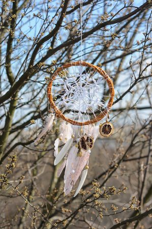 Handmade native americans dream catcher with white doily on background of spring branches. Tribal elements, feathers, lace, crochet snowflake
