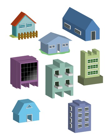 Building and houses 3d illustration vector Stock Vector - 2459257