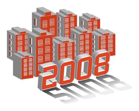 windows 8: City 2008 3D illustration vector Illustration