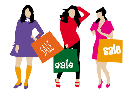 Seasonal Sale girls with shopping bag illustration vector Vector