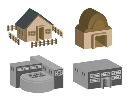 house and building in 3d vector format Vector