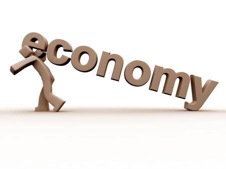 break down: Economy break down a 3d character is under pressure of bad economy dragging an economy word.