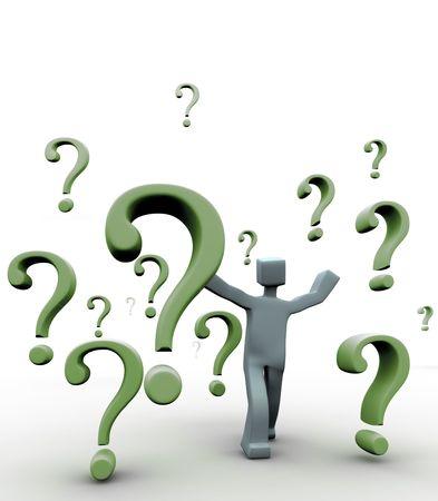 questionail: Preguntas signo de la ca�da en torno a un personaje 3D